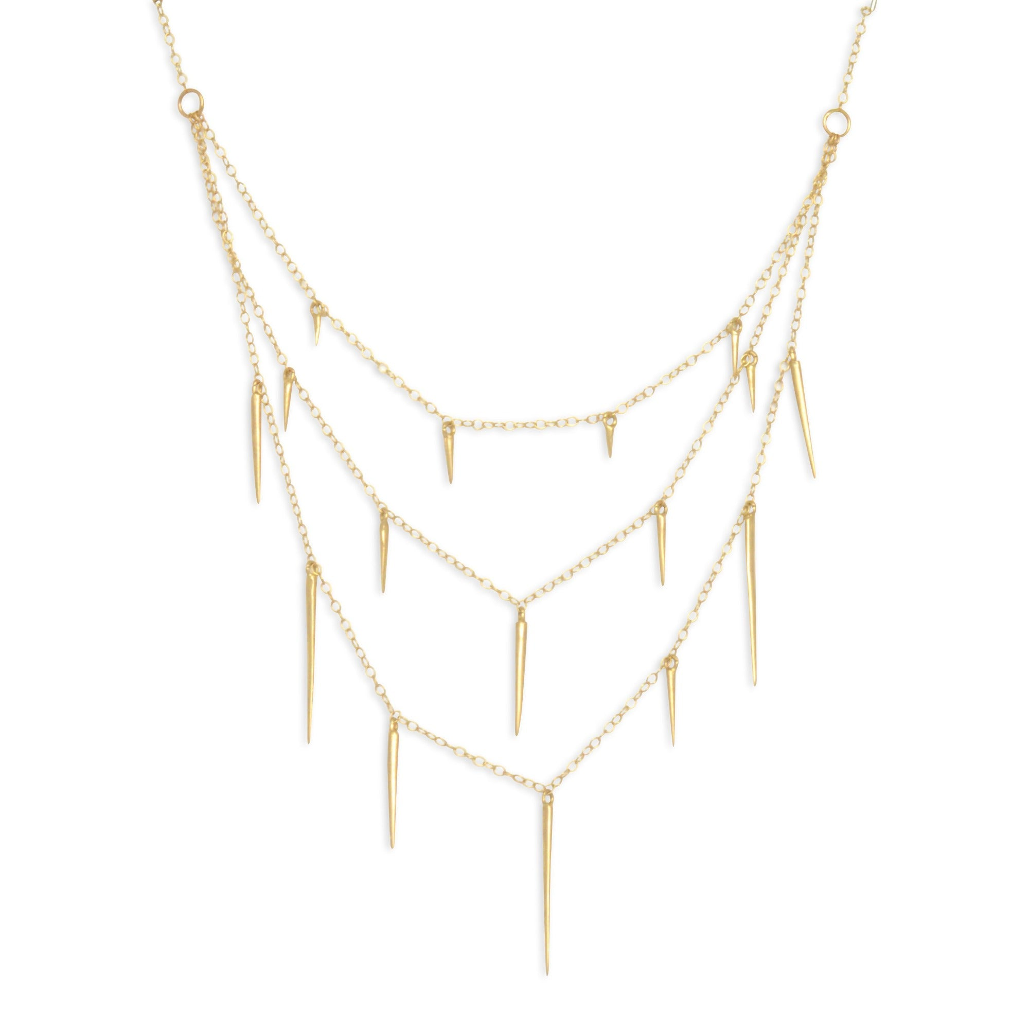 14k yellow gold small point three tier necklace