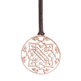 "14k rose gold / 42"" leather cord with caps arabesque medallion"