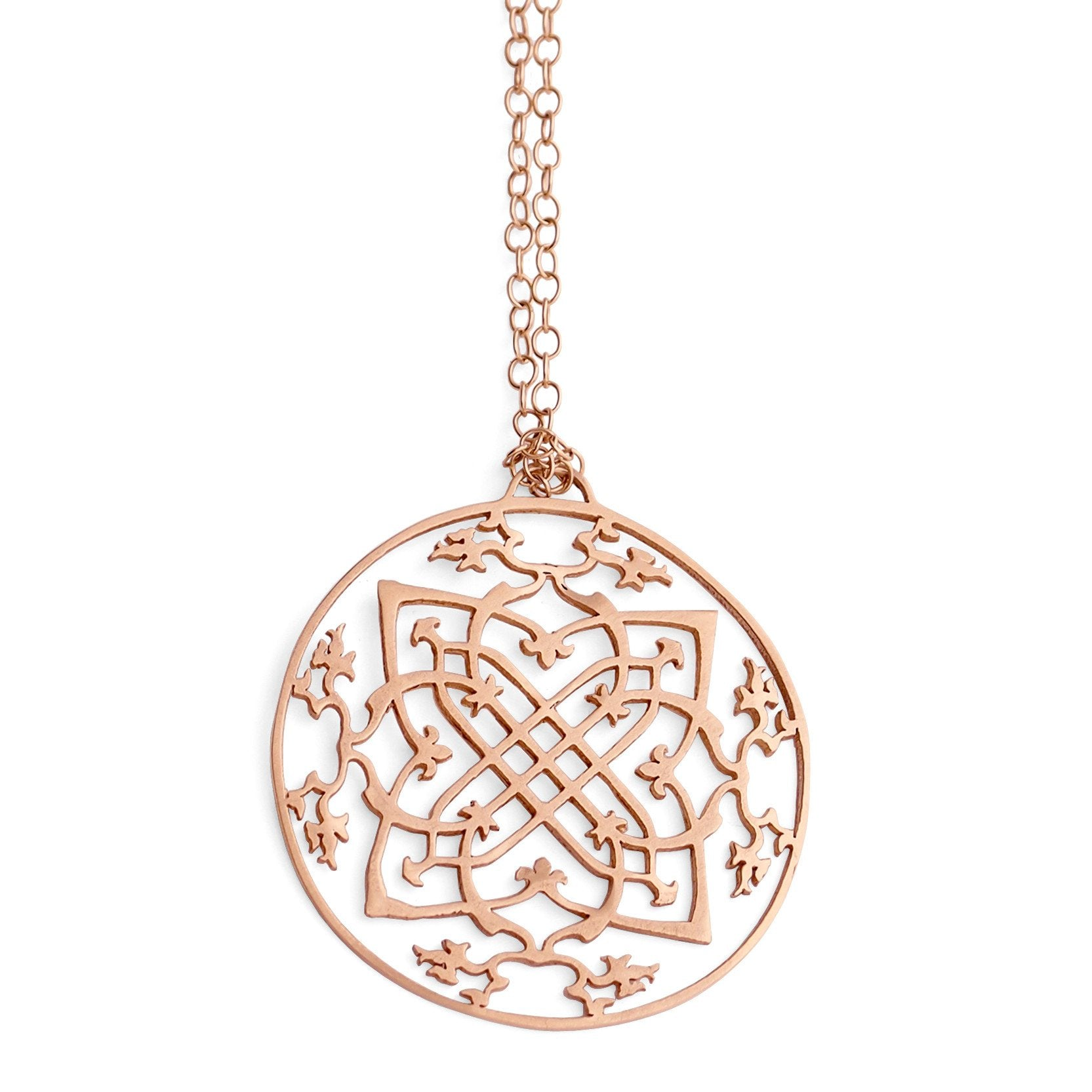 "14k rose gold / 27"" 14k gold chain arabesque medallion"