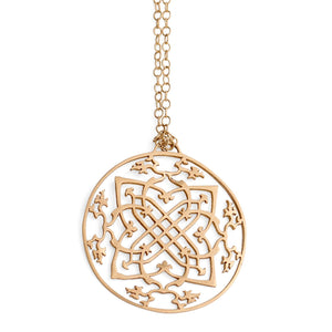 "14k yellow gold / 27"" 14k gold chain arabesque medallion"