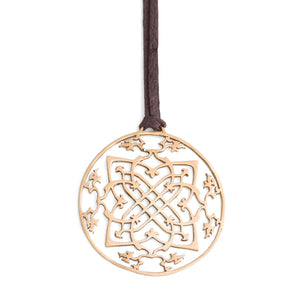 "14k yellow gold / 42"" leather cord with caps arabesque medallion"