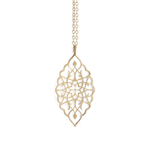 "14k yellow gold / 27"" 14k yellow gold chain arabesque petal pendant"