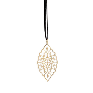 "14k yellow gold / 42"" leather cord with caps arabesque petal pendant"