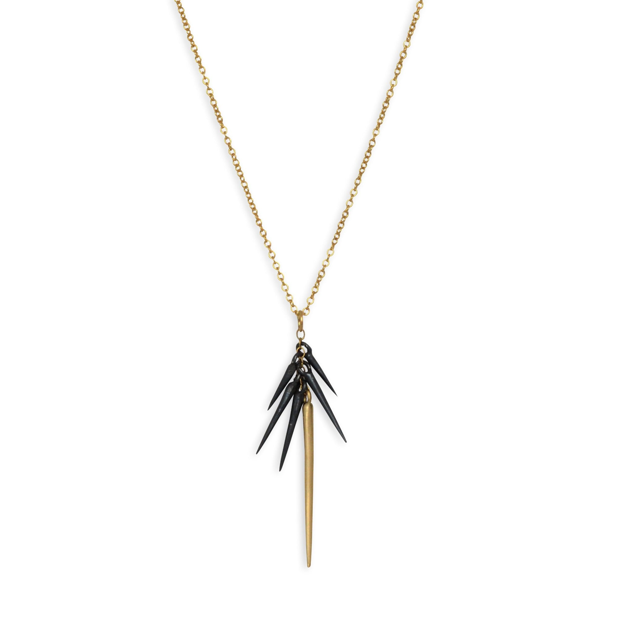 14k yellow gold/oxidized silver small point cluster necklace