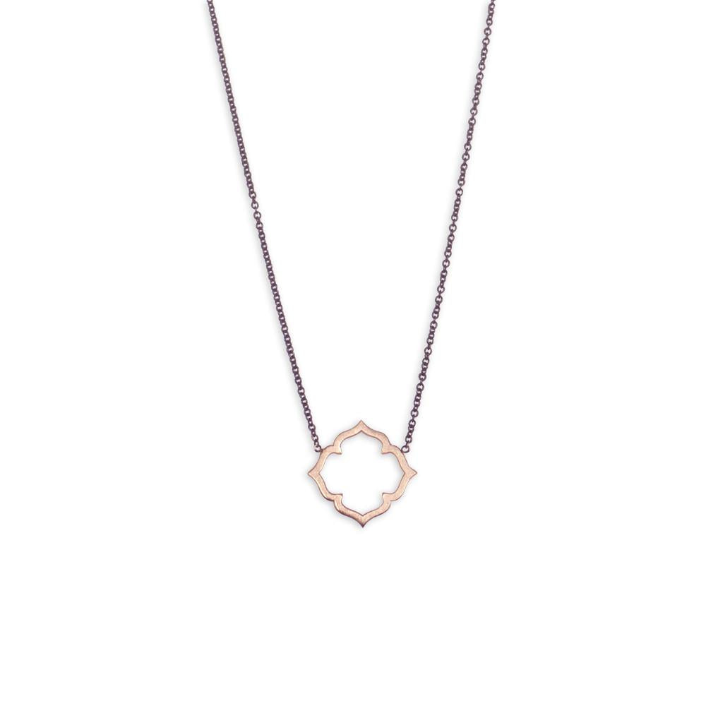 14k rose gold on an oxidized chain clover necklace