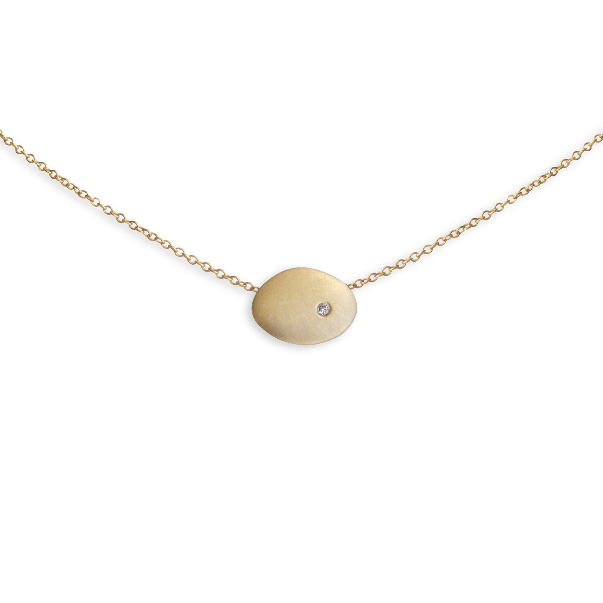 14k yellow gold with white diamond small disc necklace
