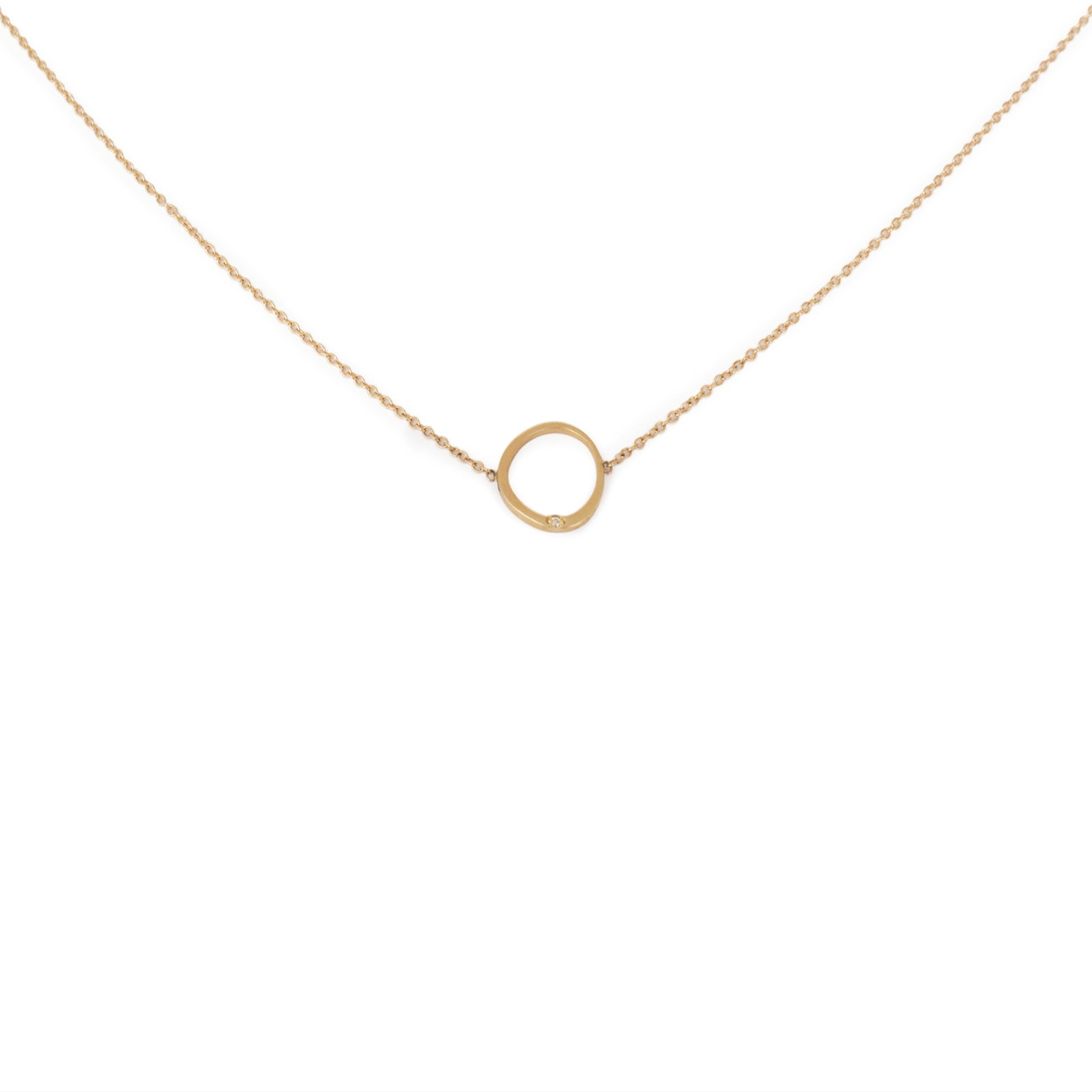 14k yellow gold with white diamond/14k yellow gold chain offset circle necklace