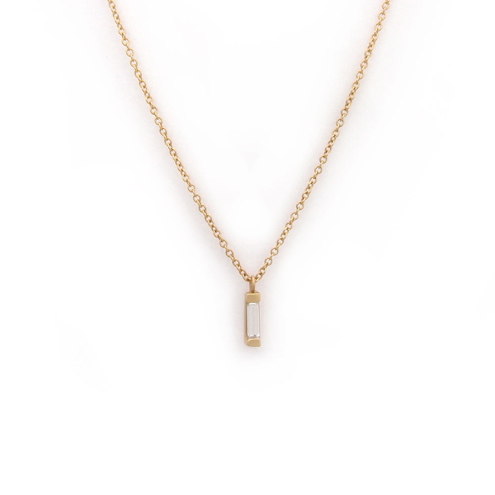 18k yellow gold with white diamonds vertical baguette diamond necklace