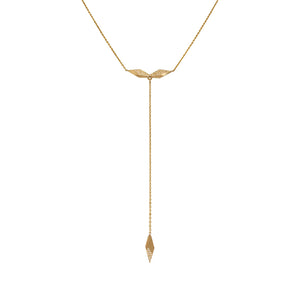 14k yellow gold with white pave diamonds shard plunge necklace