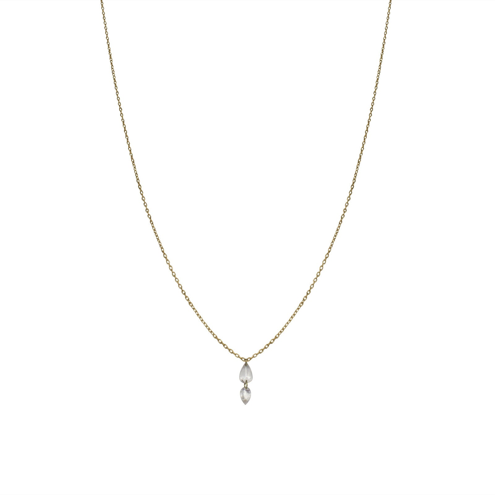 14k yellow gold with white rosecut diamonds double drop rosecut diamond necklace