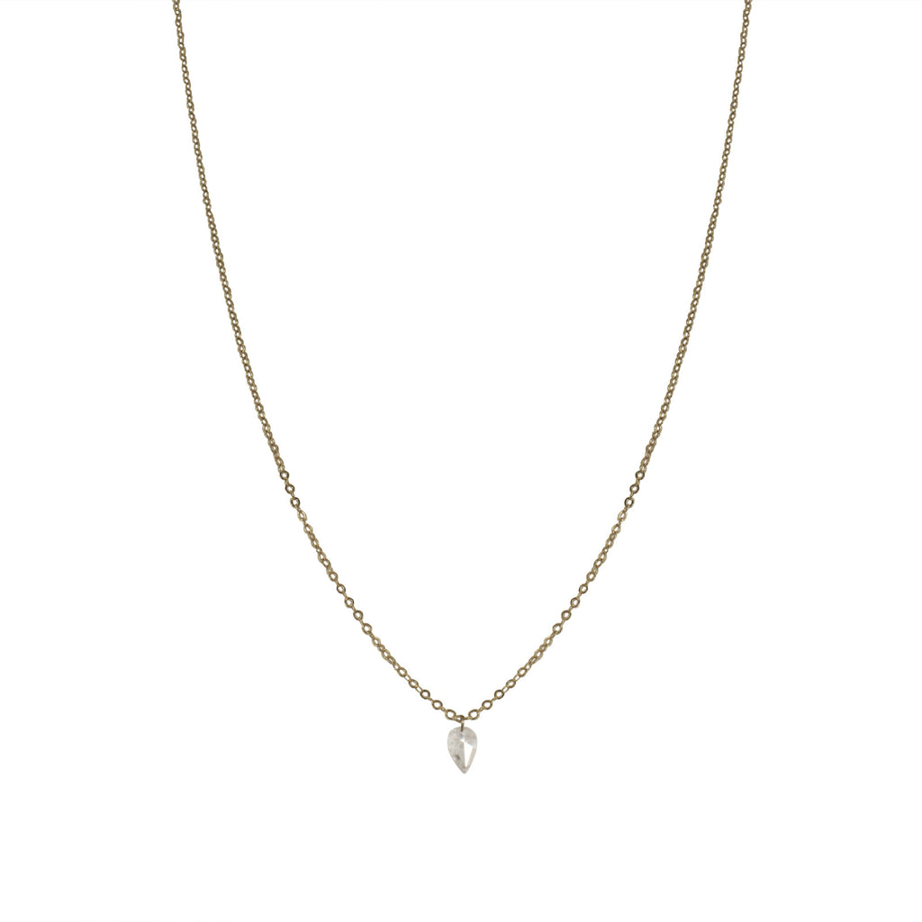 inverted rosecut pear diamond necklace