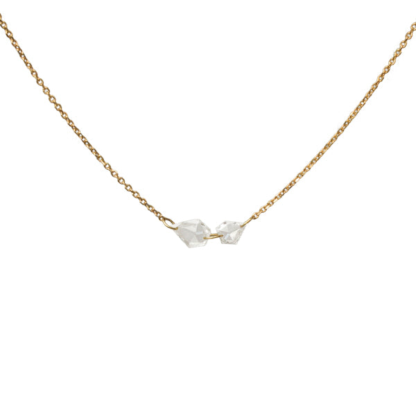 geo mirrored rose cut diamond necklace