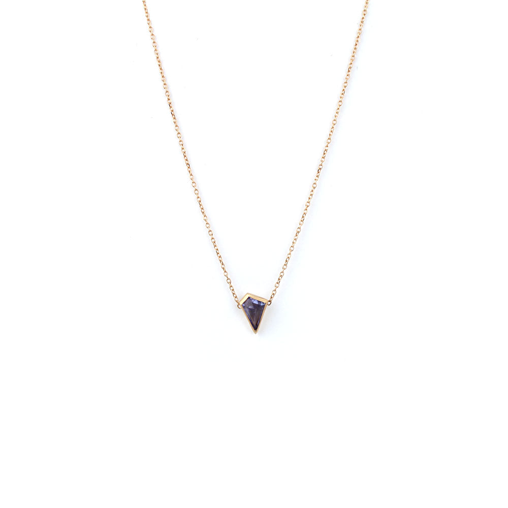 18k rose gold with tanzanite stone / 0.815 geo tanzanite necklace