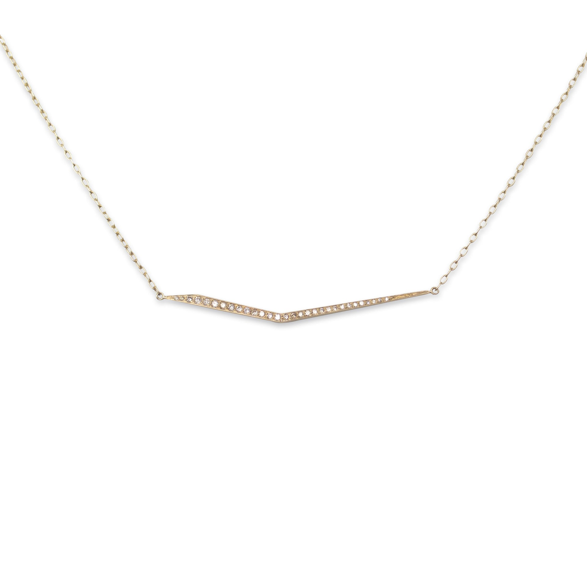 14k yellow gold with brown diamonds trace necklace