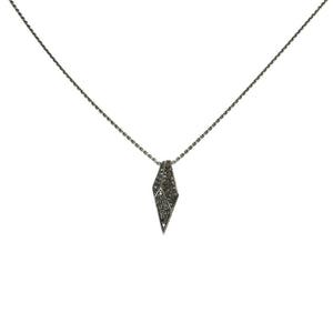 18k white gold plated in black rhodium with black diamonds pave shard necklace