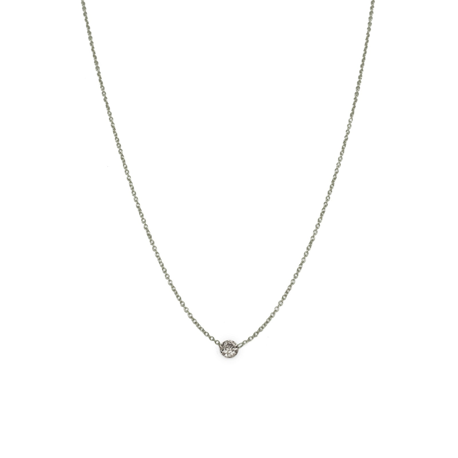 floating brilliant-cut round diamond necklace