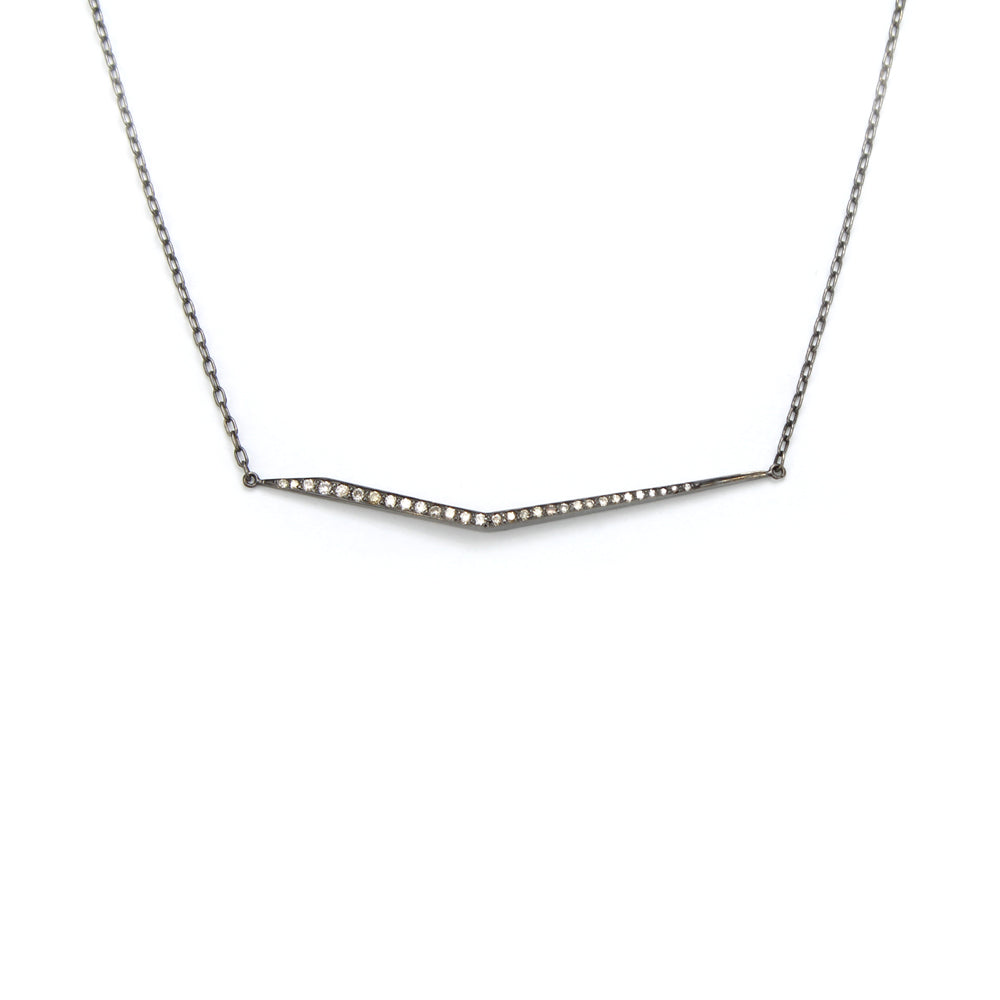 14k white gold plated in black rhodium with brown diamonds trace necklace