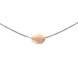 14k rose gold with brown diamond small disc necklace