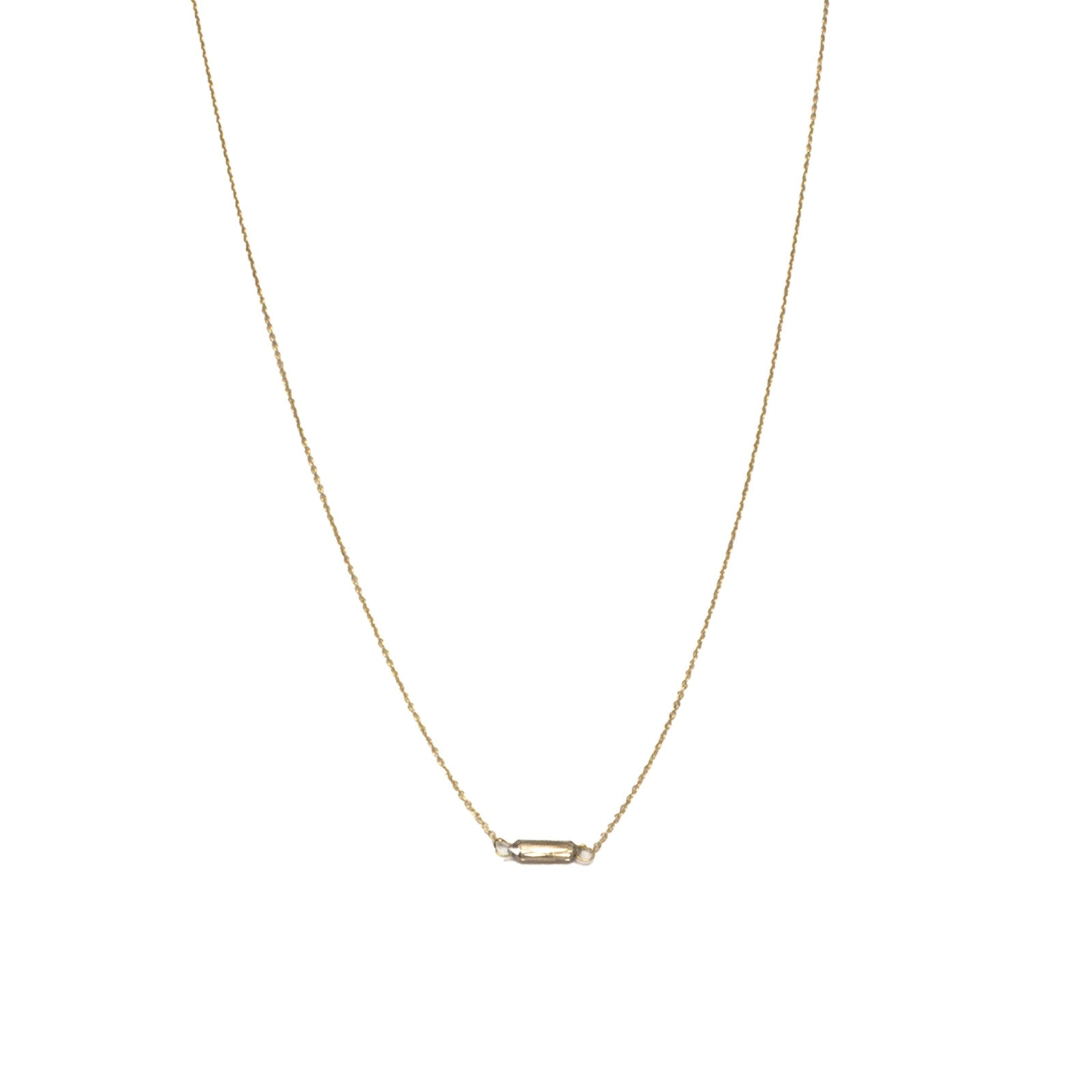 14k yellow gold horizontal diamond briolette necklace