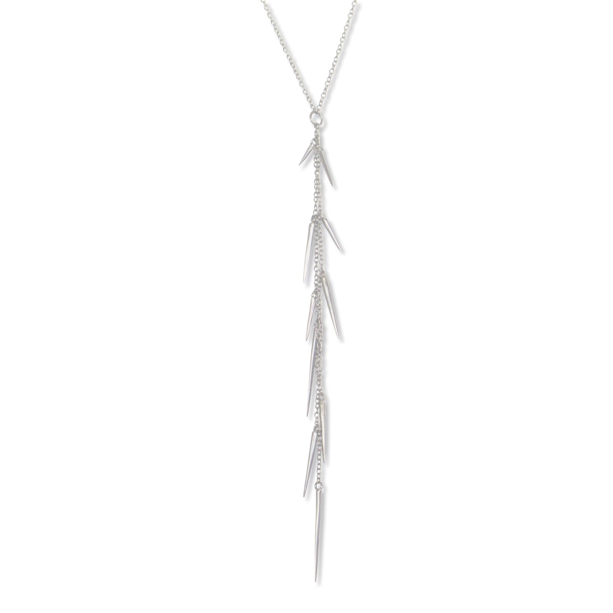 sterling silver small point long drop necklace