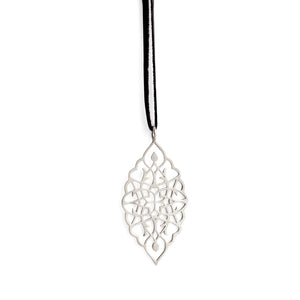 "sterling silver / 42"" leather cord with caps arabesque petal pendant"