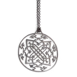 "sterling silver plated in black rhodium / 27"" silver chain arabesque medallion"