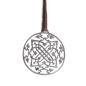 "sterling silver plated in black rhodium / 42"" leather cord with caps arabesque medallion"