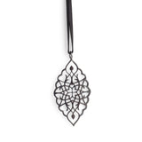 "sterling silver plated in black rhodium / 42"" leather cord with caps arabesque petal pendant"