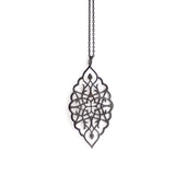 "sterling silver plated in black rhodium / 27"" oxidized sterling silver chain arabesque petal pendant"