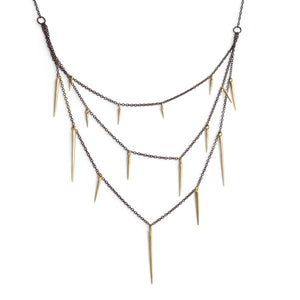 14k yellow gold points on a sterling silver oxidized chain small point three tier necklace