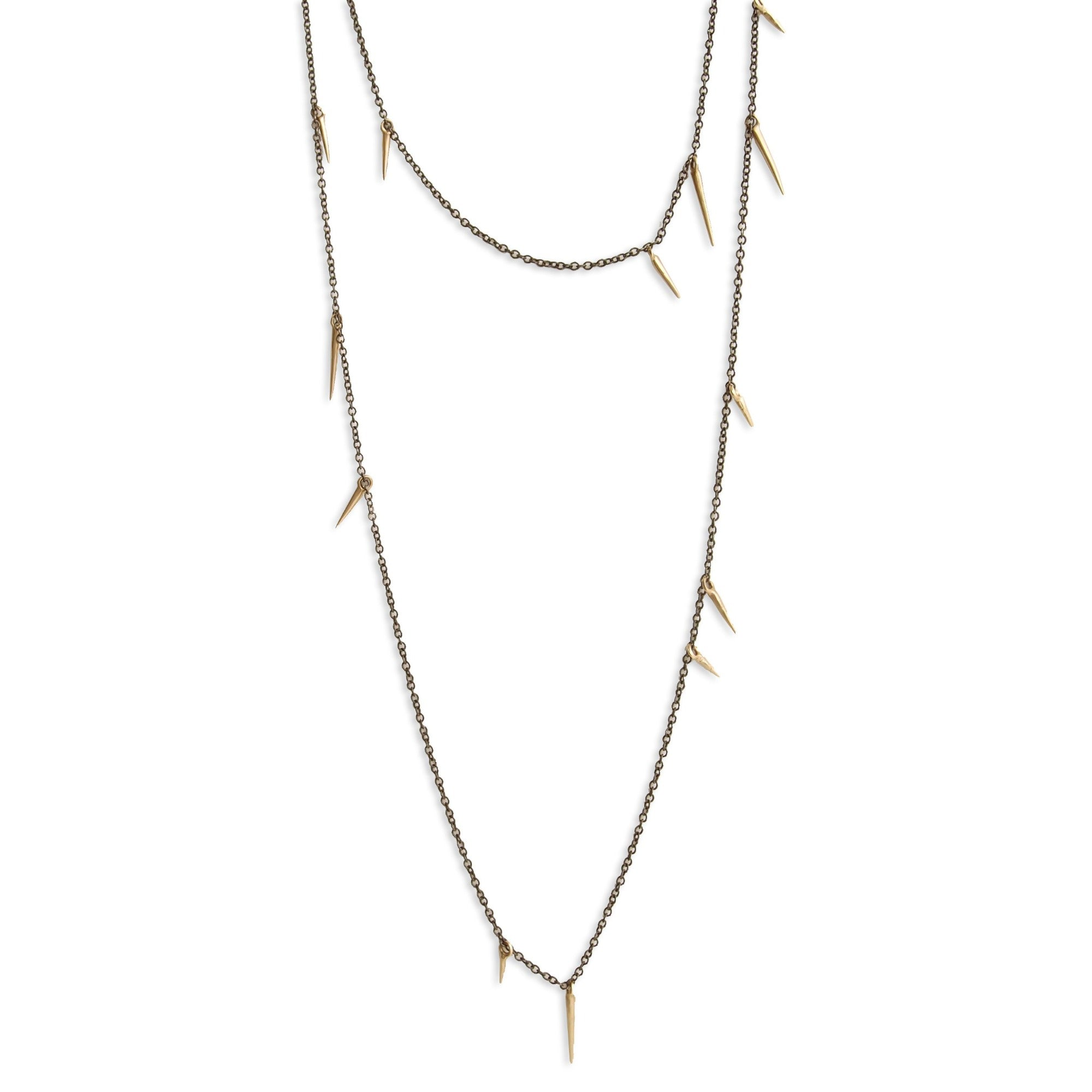 "14k yellow gold/oxidized silver / 18"" small point scatter necklace"