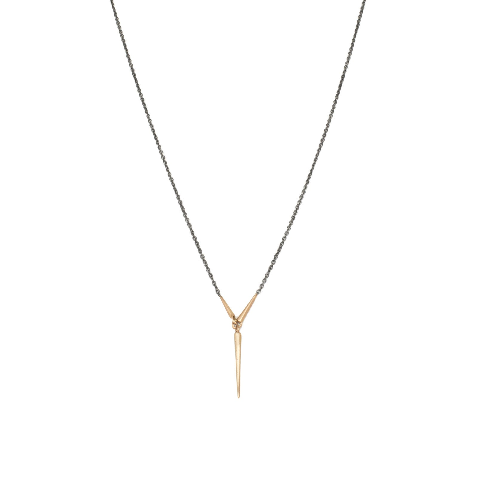 long / 18k rose gold/oxidized silver chain triad necklace