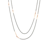 18k rose gold/oxidized silver long mirrored points necklace