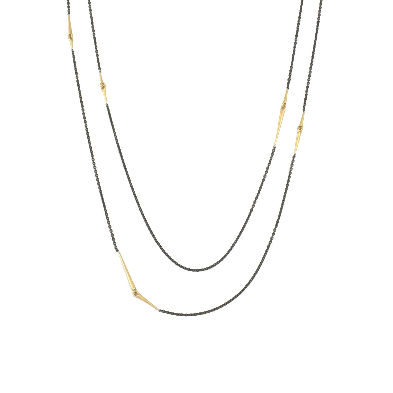 18k yellow gold/oxidized silver chain long mirrored points necklace