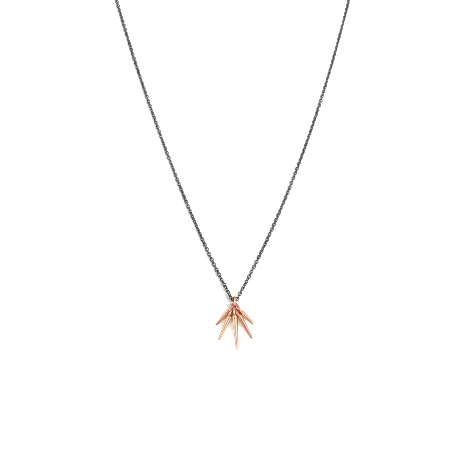 18k rose gold/oxidized silver chain / small fan points necklace