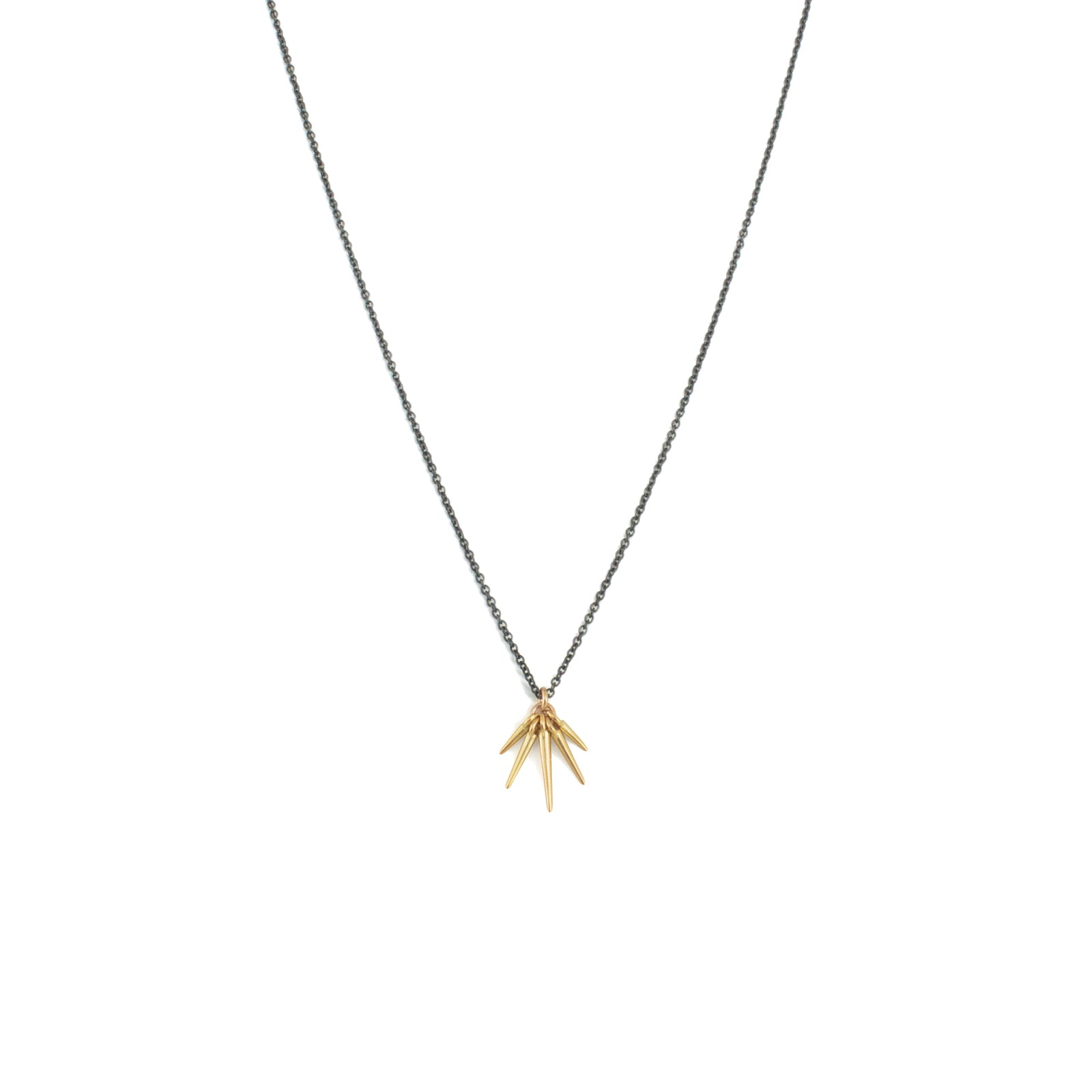 18k yellow gold/oxidized silver chain / small fan points necklace