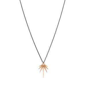 18k yellow gold/oxidized silver chain / medium fan points necklace