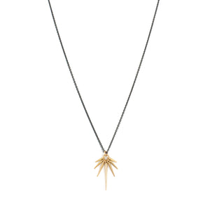 18k rose gold/oxidized silver chain / medium fan points necklace