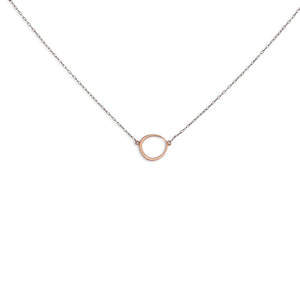 14k rose gold/oxidized silver chain offset circle necklace