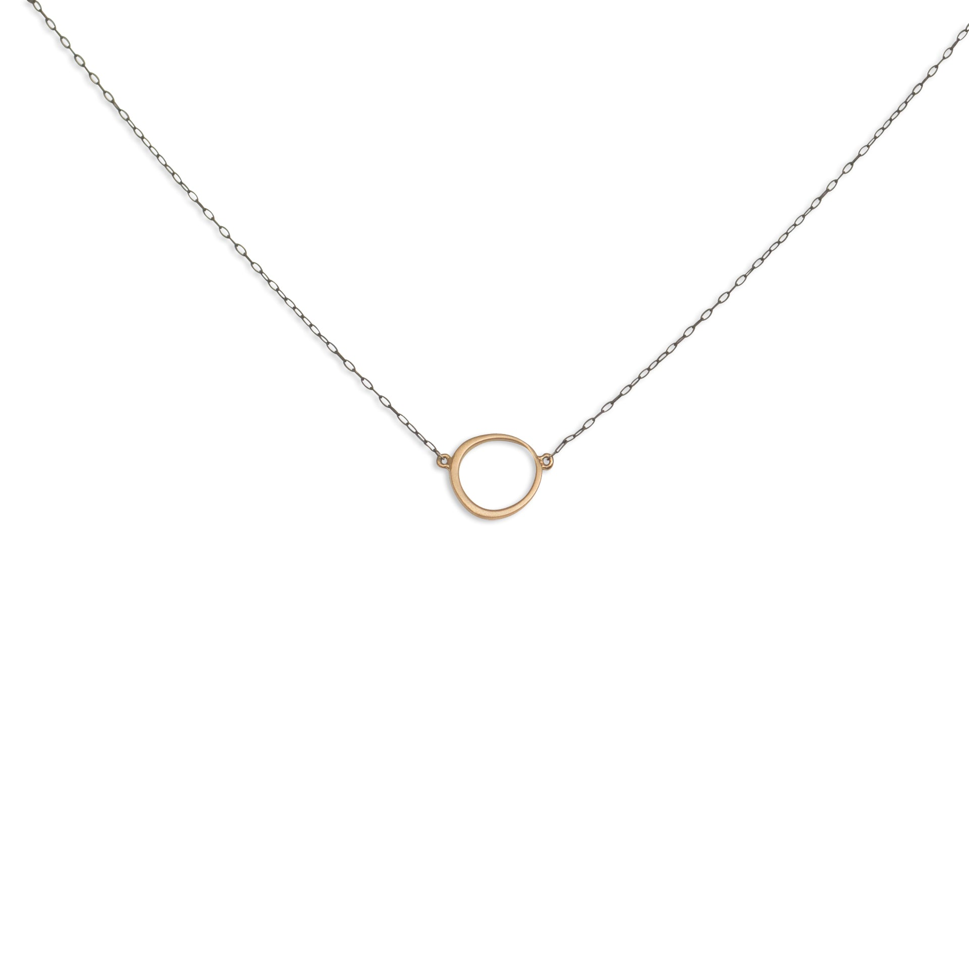 14k yellow gold/oxidized silver chain offset circle necklace