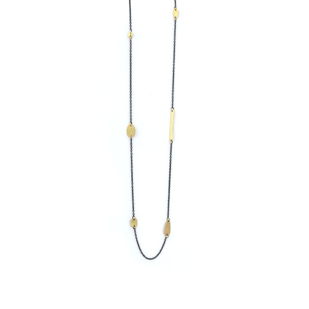18k yellow gold with oxidized silver chain totem link stations necklace