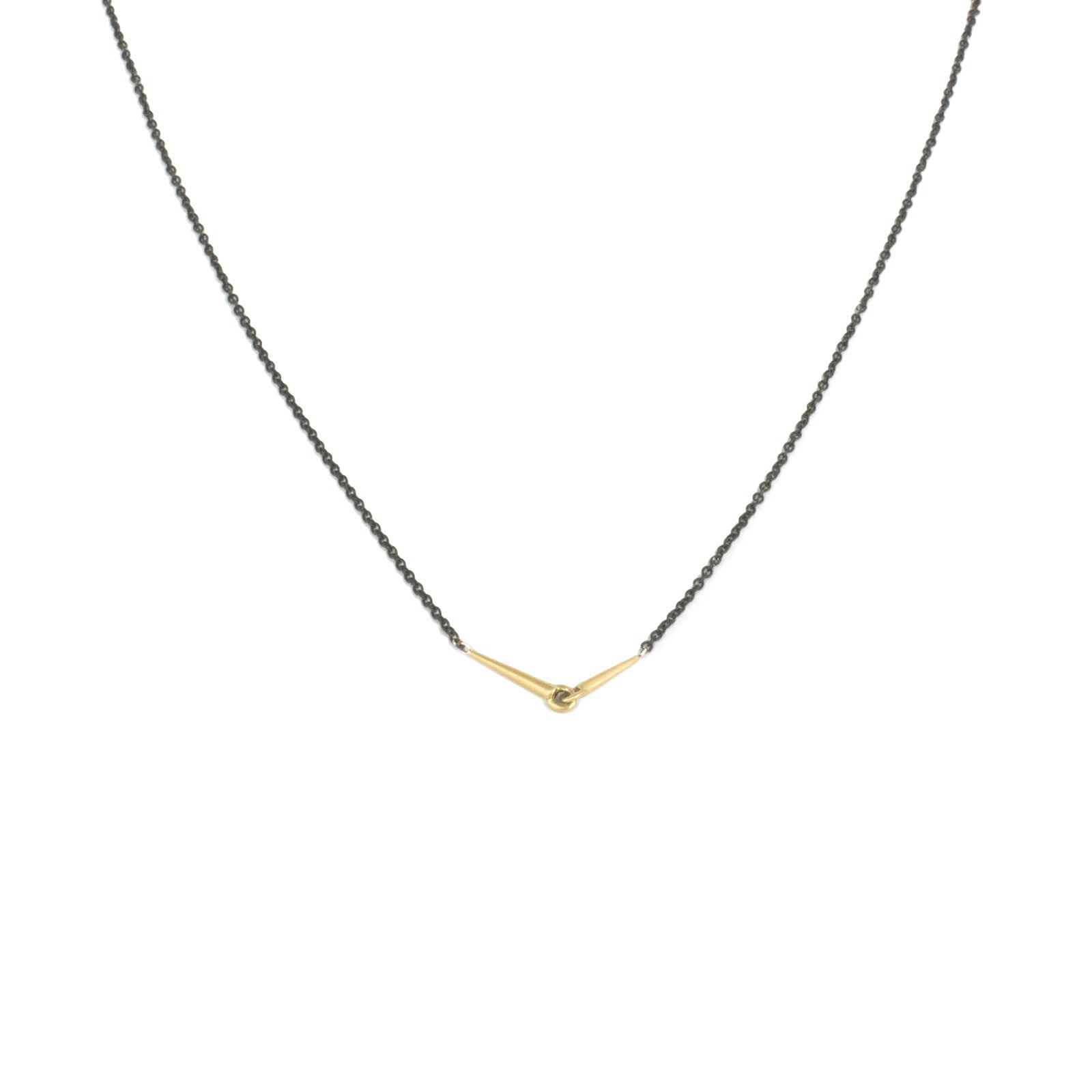18k yellow gold with oxidized silver chain / small mirror points necklace