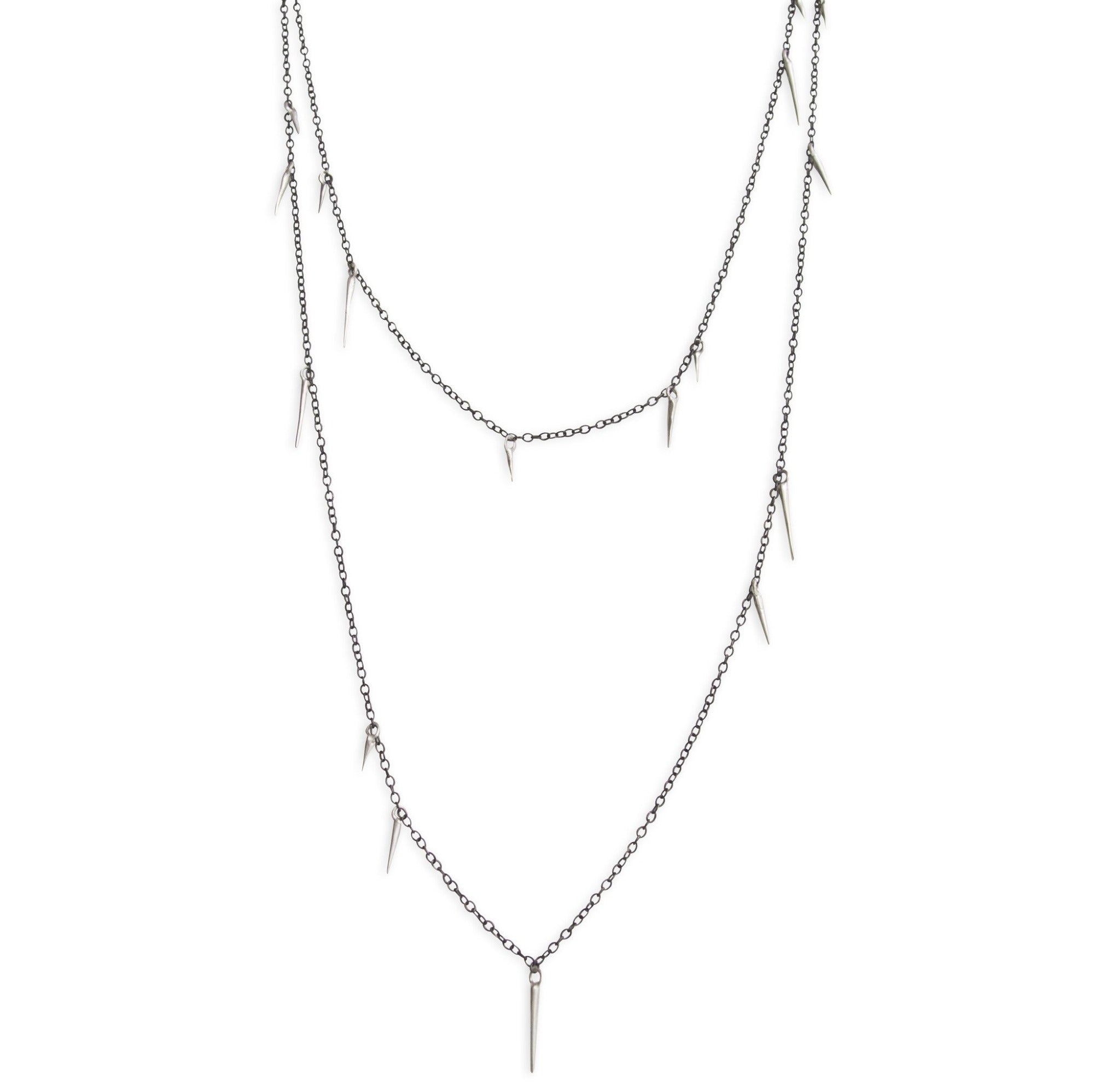 "sterling silver/oxidized silver / 18"" small point scatter necklace"