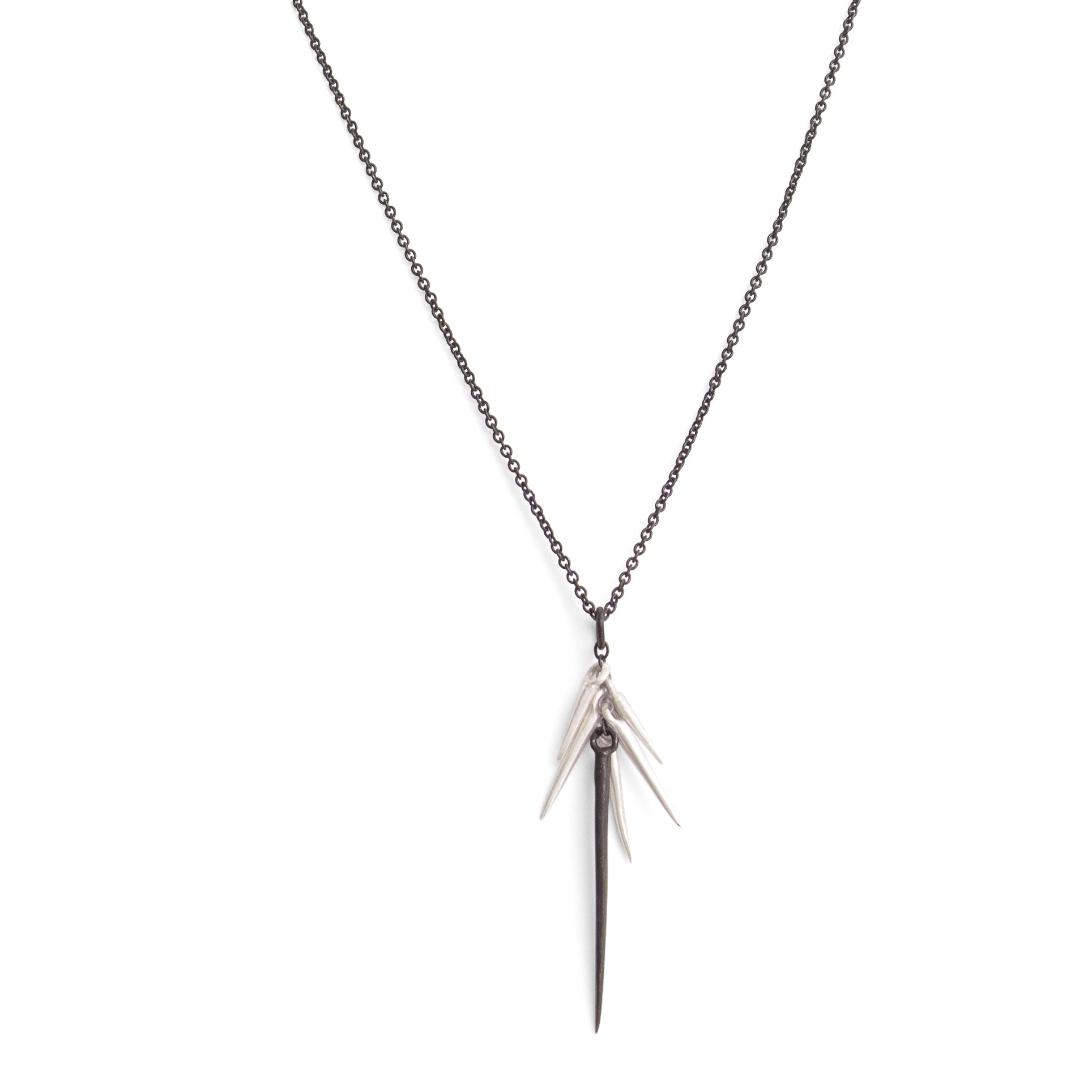 sterling silver/oxidized silver small point cluster necklace