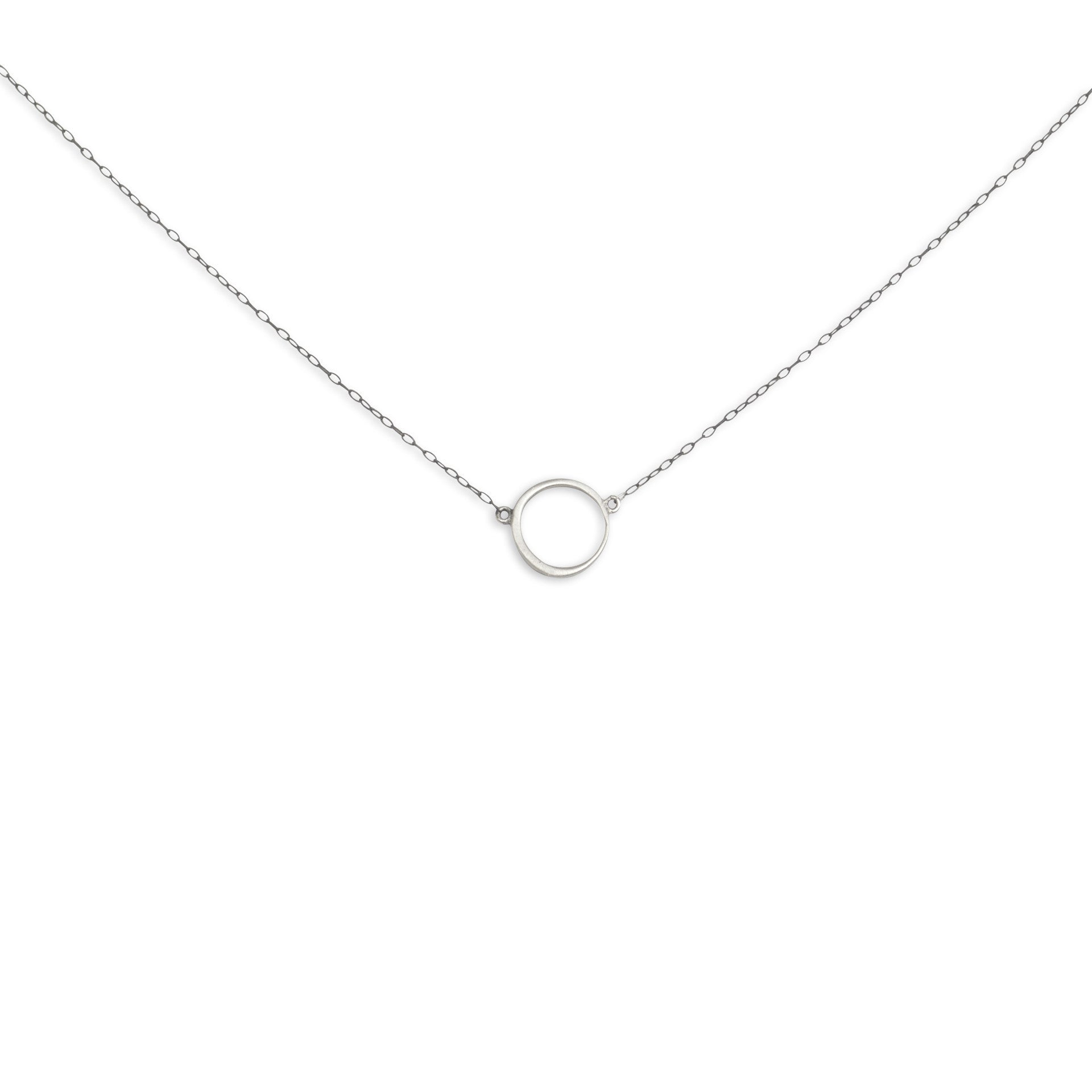 sterling silver/oxidized silver chain offset circle necklace