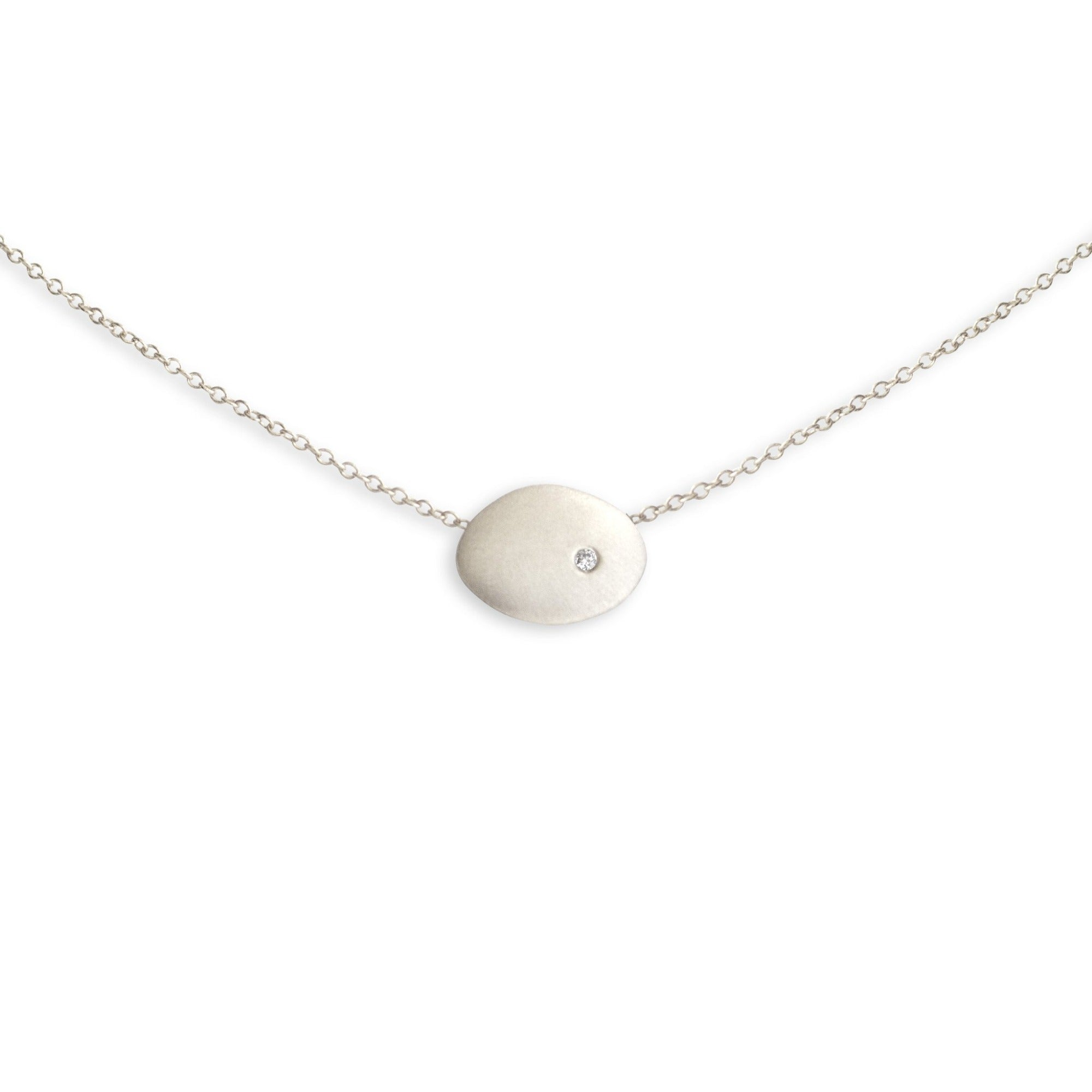 sterling silver with white diamond small disc necklace