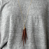 wood point cluster necklace