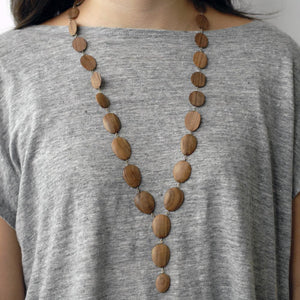 oval wood totem necklace