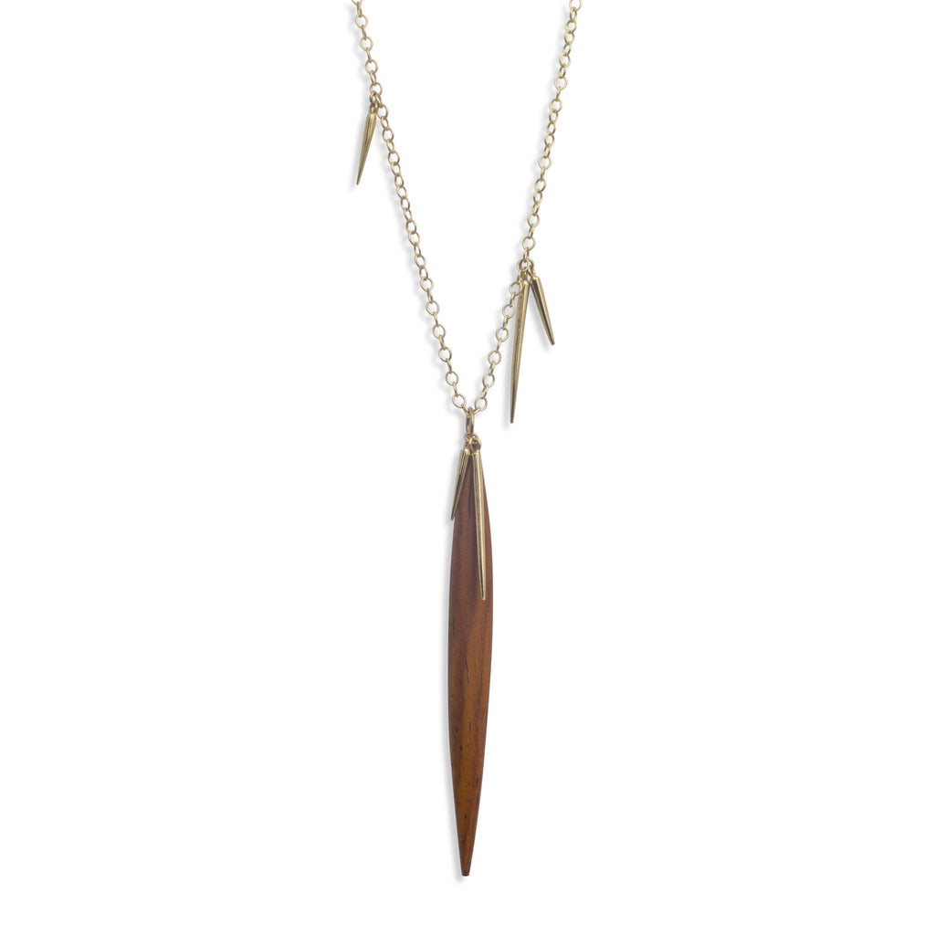 wood point scatter necklace