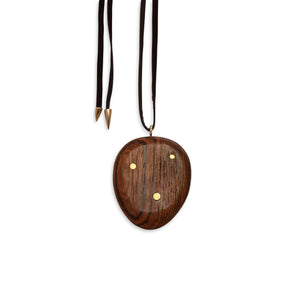 bocote/bronze wood totem inlay pendant